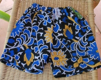 Hippie Toddlers Shorts-size 2-3 - Blue Purple Sunflower -Girls or boys Read Measurements