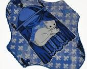 Light Core- Diva Cats Reusable Cloth Pantyliner Pad- WindPro Fleece- 8.5 Inches