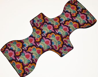 Super Hemp Core- Floral Playground Reusable Cloth Goddess XL/Postpartum Pad- WindPro Fleece- 16.5 Inches