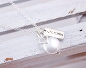 Grandmother Necklace Grandma Jewelry Sterling Silver Grandma Necklace