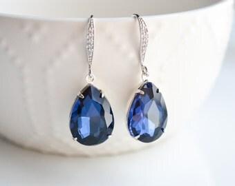 Wedding Jewelry, Bridesmaid Earrings, Navy Blue Crystal Teardrop Bridal Earrings