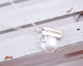 Grandmother Necklace Sterling Silver Grandma Necklace Mother's Day Gift