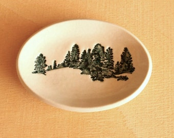 Ceramic PINE TREES Ring Dish / Tea Bag Holder - Handmade Porcelain Ring Dish - Ready To Ship
