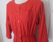 Leslie Fay size 14 red power button down knee length dress made in USA XL XXL plus size