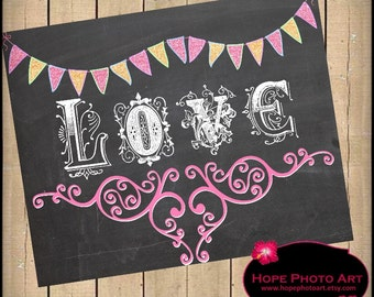 Victorian Love Chalkboard Digital Collage Sheet Valentine Banner 8x10 Image Transfer Wall Art Printable UPrint 300jpg