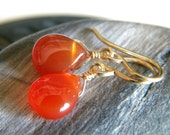 Smooth rust orange carnelian briolette earrings - handmade gold filled wire wrapped gemstone jewelry