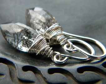 Black rutilated quartz marquise briolette wire wrapped earrings - semiprecious gemstone sterling silver handmade Winter jewelry