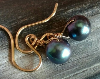 Iridescent blue black cultured pearl earrings - Gold filled handmade jewelry - June birthstone