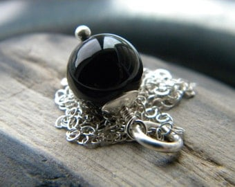 Deepest black onyx simple round stone solitaire necklace - handmade gemstone jewelry