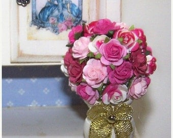 ON SALE Roses, Pink Rose, Hot Pink Rose, Bouquet, Floral Bouquet, Flowers, Get Well, Home Decor, Happy Birthday, Miniature, Dollhouse, Mini,