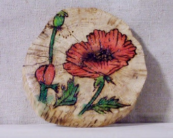 poppy pyrography wood burned desk or wall art