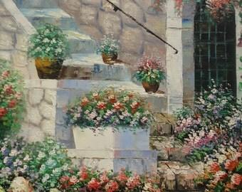 Vintage Cottage Chick Flower Garden Oil Painting