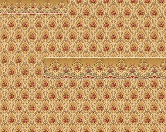 1/12 and 1/24 Scale Downloadable Printable Vintage Victorian Dollhouse Pickfair Wallpaper