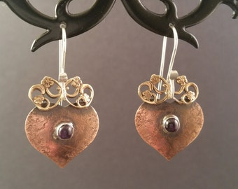 Crowned Heart Earrings with Amethyst
