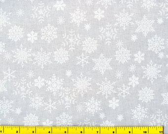 New White on White Snowflakes Christmas Quilting Fabric by Yard #3114
