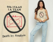 Graphic Shirt DEATH BY ANALYSIS Vintage Burnout Tank Top It 80s Tee Soft Itaas Low Armhole Nerd Geek Computer Tan Small Medium Large
