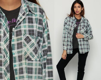 Grunge Flannel Shirt Green Plaid Shirt 80s Button Down Up White Grey Vintage Oversize Lumberjack Cotton Long Sleeve Retro Small