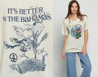 Retro TShirt SCUBA Diving Shirt Under The Sea 70s Graphic T Shirt Tropical Fish BAHAMAS Paper Thin Tee Burnout Vintage Extra Large xl