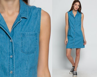 Denim Mini Dress 90s Jean PEARL SNAP Button Up 1990s Grunge Pocket Blue Normcore Vintage Minidress Sleeveless Small