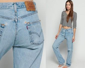 Baggy Jeans Levis Jeans Denim Pants High Waist Jeans Grunge 80s Mom Jeans Straight Leg Levi 1980s Vintage Faded Hipster Distressed Medium 29