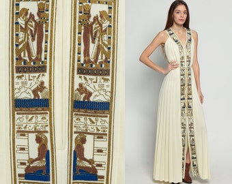 Bohemian Maxi Dress EGYPTIAN Print 1970s ALFRED SHAHEEN High Waist 70s Boho Grecian Gown Gold Cream Party Pleated Sleeveless Medium Large