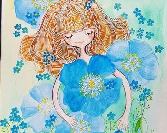 Sale Girl with blue flowers original watercolour painting