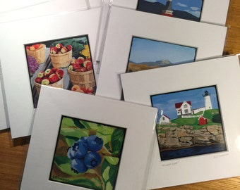 Matted 4.5x4.5 prints of NH Landscape Paintings, fits 8x8 frame