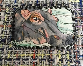 Hand Painted Hippo Paper Brooch