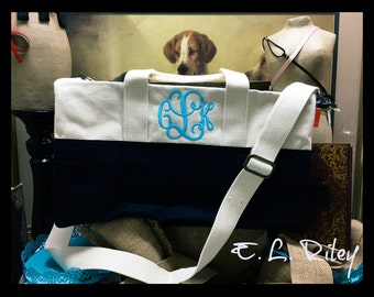 Monogrammed Canvas Duffle Bag, Personalized Canvas Overnight Bag, Small Duffle