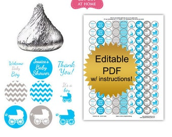 DIY editable printable candy stickers Boy blue carriage baby shower favors Digital File (No.k90B)