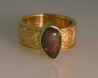 Handmade Wedding Ring Australian Crystal Opal 18kt/14kt Yellow Gold Spirals Coupon Code