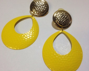Original vintage 1980s large yellow and gold hoop earrings DEADSTOCK