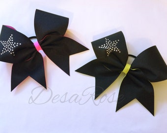Black inside out bow with Rhinestones Star