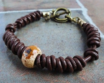 Hand-braided Brown Leather Bracelet for Men, Picture Jasper Stone Accent, Antiqued Brass Clasp, Mens Leather Jewelry
