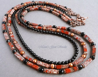 Black and Red Gemstone Triple Strand Necklace 26in, Jasper, Onyx, Pearl, Copper, Handmade Jewelry