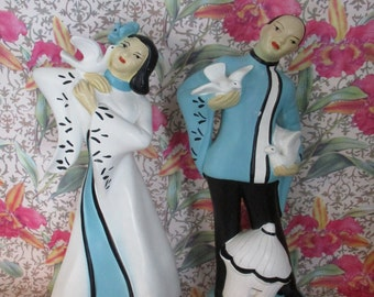 Chalkware Figurines / Statues ~  Asian Couple  with White Doves ~Hand-Painted - Mid-Century Chalkware  Figurines Hand-Painted