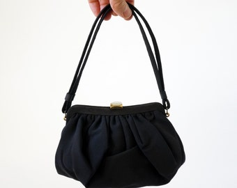 REDUCED Vintage 1960s Purse / Petite Black Pleated Purse and Coin Purse / Evening Cocktail Handbag