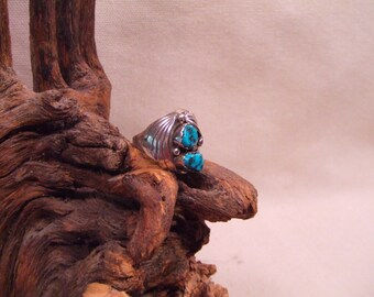 Turquoise ring native american indian sterling silver  size 10- 11 light patina SALE FREE SHIPPING