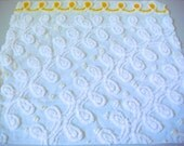 Soft White Plush Swirls and Tonal Yellow Floral Vintage Cotton Chenille Bedspread Fabric 18 x 21 Inches