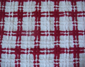 Burgundy and White Vintage Cotton Chenille Bedspread Fabric 19 x 24