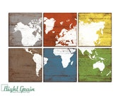 Large Colorful World Map Wall Art - Home Decor - Custom Map Print - Office Wall Art 24x36