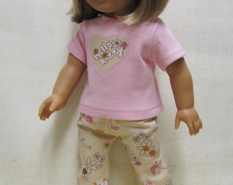 Hello Kitty Play Outfit or PJ  For American Girl Doll or Bitty Baby