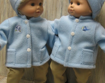 Blue Coat and Hat sets - His and Hers - for Bitty Baby Twins