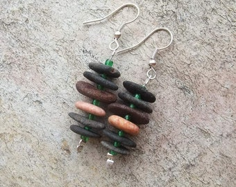 Unique beach pebble earrings -  natural stone jewelry - volcanic rock, granite, lime stone  - naturally sourced stones from Australia.