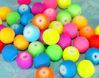 24 pcs 8mm Beads Bright Neon Glass Beads Assorted Colors Loose Jewelry Supply Round Rubberized Bulk Beads for Bracelets Necklaces Earrings