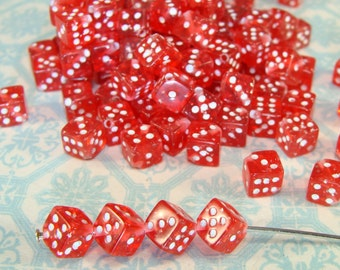 100 Red Glitter Dice Beads 5mm (40017) Lucky Charm Jewelry Supplies Bulk Beads for Bracelets Necklaces and Earrings Plastic Beads