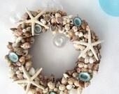 "Nautical Beach Decor Tiny Shell Wreath - Seashell Wreath of Tiny Colorful Shells - 6"""