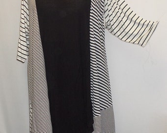 Plus Size Top, Asymmetric Tunic Top, Women Tunic, Coco and Juan, Multi Stripe #1 Knit Size 2 (fits 3X,4X)  Bust 60 inches
