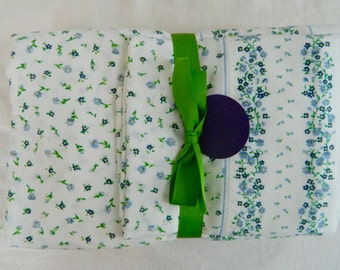 Vintage Twin sheet set in tiny blue and green flowers / twin flat sheet / twin fitted sheet / vintage pillowcase