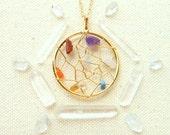 Boho dreamcatcher necklace chakra necklace positive energy crystal gemstone hippie jewelry dream gold catcher necklace chakra jewelry